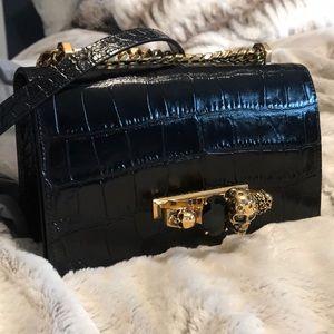Alexander McQueen Black Croc Jeweled Satchel